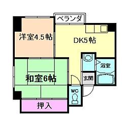 大阪府大阪市福島区鷺洲2丁目の賃貸マンションの間取り