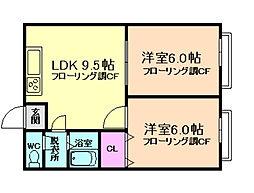 大阪府豊中市上野西2丁目の賃貸アパートの間取り