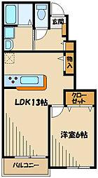小田急小田原線 町田駅 バス17分 上山崎下車 徒歩5分の賃貸アパート 1階1LDKの間取り