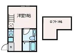JR中央線 高円寺駅 徒歩7分の賃貸マンション 1階ワンルームの間取り