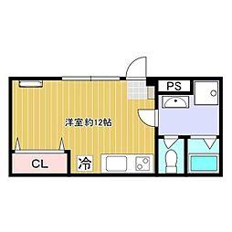 京王線 高幡不動駅 徒歩6分の賃貸アパート 1階ワンルームの間取り