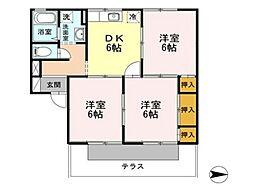 セジュール野山 A[1階]の間取り