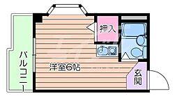 阪急京都本線 相川駅 徒歩7分の賃貸マンション 1階ワンルームの間取り