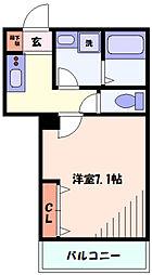 JR南武線 平間駅 徒歩3分の賃貸マンション 3階1Kの間取り