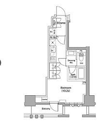 ザ・パークハビオ碑文谷 4階ワンルームの間取り