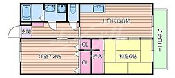 JR東海道・山陽本線 吹田駅 徒歩9分の賃貸マンション 1階2DKの間取り