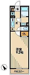 小田急小田原線 向ヶ丘遊園駅 徒歩13分の賃貸アパート 2階1Kの間取り