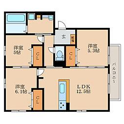 仮称)D-room目川ハイツB棟[2階]の間取り