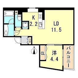 ロイド 4階1LDKの間取り