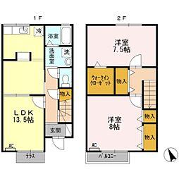 愛知県豊橋市清須町字堂西の賃貸アパートの間取り
