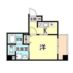 神戸市海岸線 ハーバーランド駅 徒歩10分の賃貸マンション 6階1Kの間取り