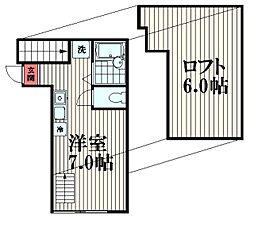 東京都大田区大森北4丁目の賃貸アパートの間取り