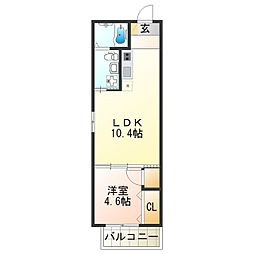 Fメゾン大領II番館 2階1LDKの間取り