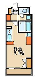ミランダ富士見III 55686 3階ワンルームの間取り