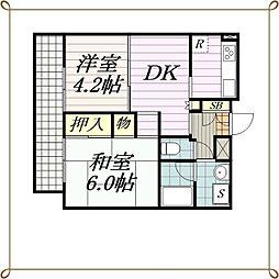 コスモ千葉中央マンション[10階]の間取り