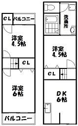 [テラスハウス] 大阪府枚方市養父丘1丁目 の賃貸【大阪府 / 枚方市】の間取り