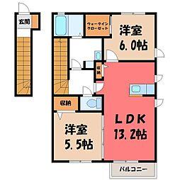 栃木県下野市文教3丁目の賃貸アパートの間取り