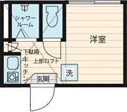 ジリオロッソ東新宿 2階ワンルームの間取り
