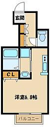 多摩都市モノレール 桜街道駅 徒歩4分の賃貸アパート 1階ワンルームの間取り