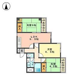 愛知県名古屋市名東区桜が丘の賃貸マンションの間取り