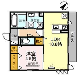(仮)D-room北区百舌鳥本町 1階1LDKの間取り