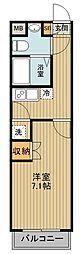 東武東上線 下赤塚駅 徒歩10分の賃貸マンション 2階1Kの間取り
