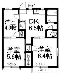 MAST 斉藤コーポ[202号室]の間取り