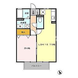 神奈川県座間市ひばりが丘1丁目の賃貸アパートの間取り