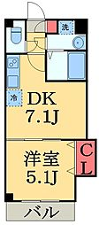 JR総武線 幕張駅 徒歩4分の賃貸マンション 2階1DKの間取り