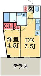 JR京葉線 蘇我駅 徒歩10分の賃貸マンション 1階1DKの間取り