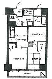 ライオンズマンション西五反田 2階3DKの間取り