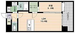 エソラ西新 8階1LDKの間取り