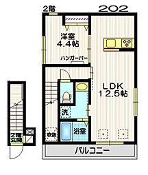 (仮称)羽田6丁目KマンションB棟 2階1LDKの間取り