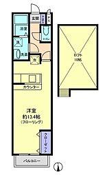 埼玉県越谷市瓦曽根2丁目の賃貸アパートの間取り