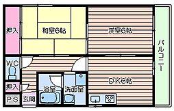 大阪府大阪市浪速区立葉2丁目の賃貸マンションの間取り