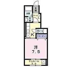 新潟県新発田市本町1丁目の賃貸アパートの間取り