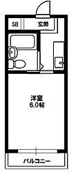 瑞光グリーンハイツ 2階1Kの間取り