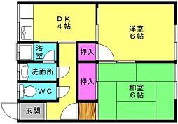 清和荘[102号室]の間取り