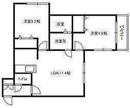 北海道札幌市白石区南郷通6丁目北の賃貸マンションの間取り