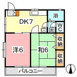 コーポマロニエB[1階]の間取り