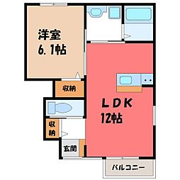 茨城県古河市坂間の賃貸アパートの間取り