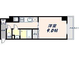JR大阪環状線 桃谷駅 徒歩9分の賃貸マンション 2階1Kの間取り
