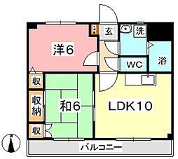 マンション曽根本 II 2階2LDKの間取り
