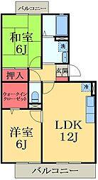 千葉県市原市ちはら台西3丁目の賃貸アパートの間取り