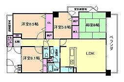 大阪府豊中市螢池中町2丁目の賃貸マンションの間取り
