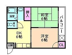 コンフォート石田[3階]の間取り