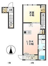 愛知県豊田市水源町1丁目の賃貸アパートの間取り