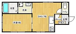 西鉄天神大牟田線 大橋駅 徒歩7分の賃貸マンション 2階1LDKの間取り