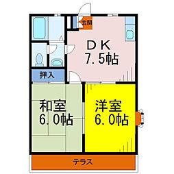埼玉県草加市稲荷4の賃貸アパートの間取り