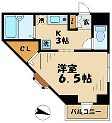 小田急多摩線 唐木田駅 徒歩1分の賃貸マンション 2階1Kの間取り